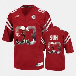 For Men's Stitch Red Nebraska Cornhuskers Ndamukong Suh Jersey #93 Player Pictorial 315111-234