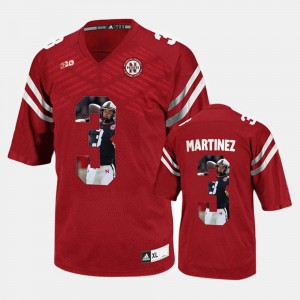Red #3 Player Pictorial Nebraska Cornhuskers Taylor Martinez Jersey University For Men 633344-635