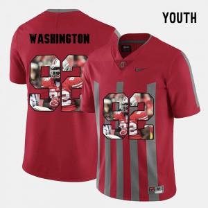 Buckeyes Adolphus Washington Jersey Pictorial Fashion #92 Stitch Red Kids 993184-429