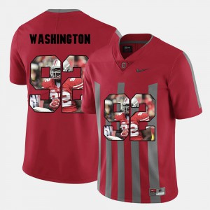 #92 For Men's Stitch Ohio State Adolphus Washington Jersey Red Pictorial Fashion 352576-546