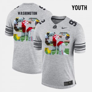 OSU Adolphus Washington Jersey Pictorital Gridiron Fashion Youth(Kids) Pictorial Gridiron Fashion Embroidery Gray #9 547737-767