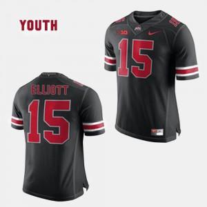 Stitched Ohio State Ezekiel Elliott Jersey #15 College Football Black Youth(Kids) 925122-425