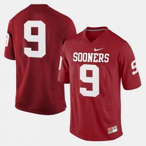 Crimson OU Jersey #9 High School Men College Football 416401-884