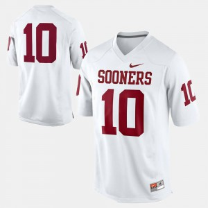 #10 Men's College Football OU Sooners Jersey White NCAA 476278-181