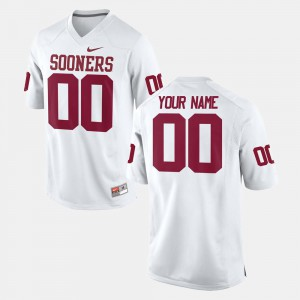 College Football #00 Sooners Customized Jersey White Stitched Mens 506579-738