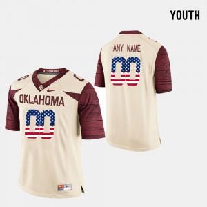 University Of Oklahoma Custom Jersey US Flag Fashion High School #00 Crimson Youth 983872-885