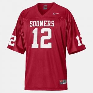 Men's College Football #12 University OU Sooners Landry Jones Jersey Red 322866-569