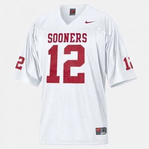 #12 College Football For Men's University White University Of Oklahoma Landry Jones Jersey 857197-979