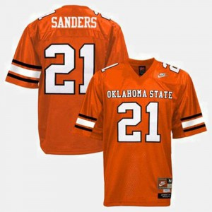 NCAA Orange #21 For Kids College Football OSU Barry Sanders Jersey 858636-231
