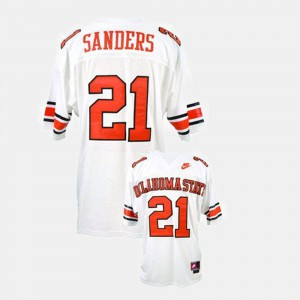 Youth White Okstate Barry Sanders Jersey University #21 College Football 989195-205