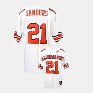 #21 College Football OSU Barry Sanders Jersey White Men's High School 127095-460