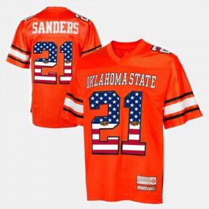 #21 Throwback Men College Oklahoma State University Barry Sanders Jersey Orange 830855-302