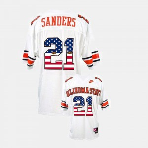 Throwback White Okstate Barry Sanders Jersey Stitch #21 For Men's 122662-802