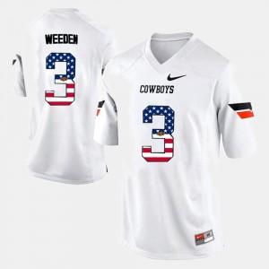 Men #3 US Flag Fashion NCAA Oklahoma State University Brandon Weeden Jersey White 511471-139