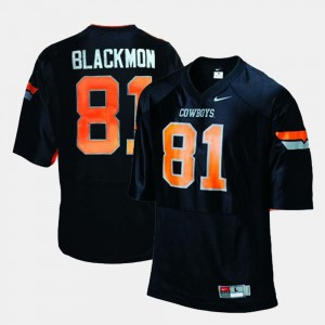 Black College Football #81 Alumni Oklahoma State Cowboys Justin Blackmon Jersey Men 399280-985