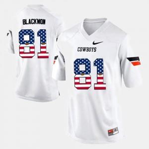 Oklahoma State Cowboys Justin Blackmon Jersey #81 Men Stitch White US Flag Fashion 347850-633