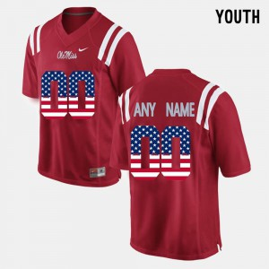 Youth Ole Miss Custom Jerseys US Flag Fashion #00 Red Stitched 931176-766