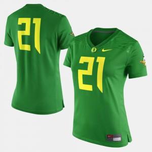 Oregon Duck Jersey NCAA Green #21 For Women College Football 183834-862