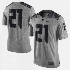 Gridiron Limited #21 Player Gray UO Jersey For Men's Gridiron Gray Limited 332369-256