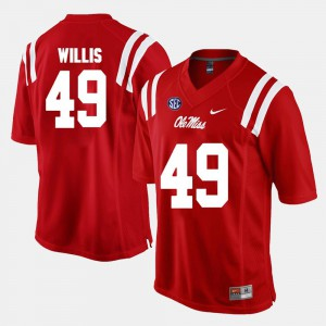 NCAA #49 Red Ole Miss Patrick Willis Jersey Men's Alumni Football Game 216392-589