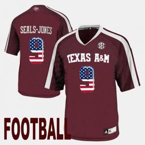 Maroon US Flag Fashion Men Texas A&M Aggies Ricky Seals-Jones Jersey High School #9 742727-923