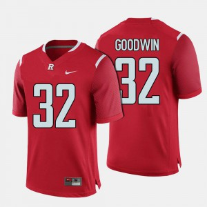 Stitched Red #32 Mens College Football Rutgers Scarlet Knights Justin Goodwin Jersey 257277-518