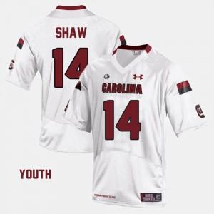 Kids #14 Alumni White USC Gamecocks Connor Shaw Jersey College Football 833634-314