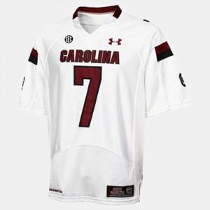 #7 For Men's NCAA White South Carolina Gamecocks Jadeveon Clowney Jersey College Football 420405-836