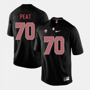 #70 College Football Mens Embroidery Black Stanford University Andrus Peat Jersey 218328-448