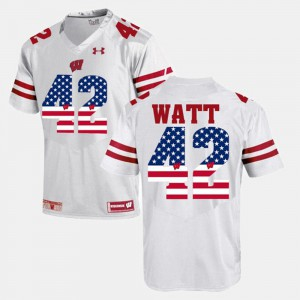 #42 Men Embroidery White UW T.J Watt Jersey US Flag Fashion 855650-149