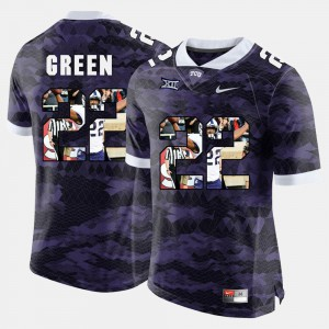 #22 Purple Stitched Texas Christian University Aaron Green Jersey Men's High-School Pride Pictorial Limited 893293-423