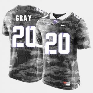 Men's College Football Grey Texas Christian University Deante Gray Jersey #20 Player 771104-461