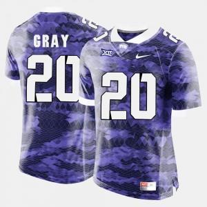 College Football #20 High School Purple Mens TCU Horned Frogs Deante Gray Jersey 450990-384