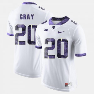 College Football Men #20 Stitched White Horned Frogs Deante Gray Jersey 694752-534