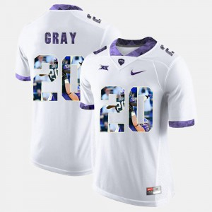 Official #20 White For Men High-School Pride Pictorial Limited TCU University Deante Gray Jersey 939900-488