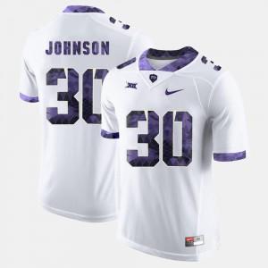 #30 Men's Texas Christian University Denzel Johnson Jersey College Football NCAA White 211865-389