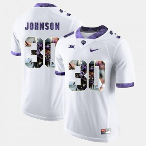 White High-School Pride Pictorial Limited For Men's TCU University Denzel Johnson Jersey Official #30 486407-605