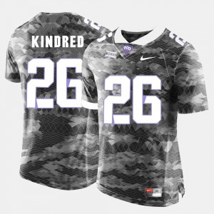 College Football Grey Player #26 For Men's TCU Horned Frogs Derrick Kindred Jersey 298530-470