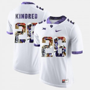 TCU University Derrick Kindred Jersey Men High-School Pride Pictorial Limited NCAA White #26 575784-211