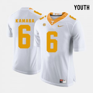 College Football #6 Stitched Youth White University Of Tennessee Alvin Kamara Jersey 967783-520
