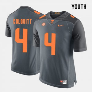 Youth Tennessee Britton Colquitt Jersey #4 Stitch Grey College Football 650656-510