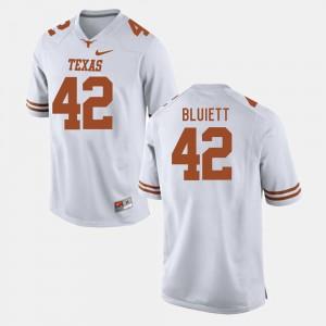#42 Texas Longhorns Caleb Bluiett Jersey Men's College Football White Official 707263-386