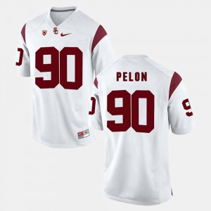 For Men's #90 White University USC Trojans Claude Pelon Jersey Pac-12 Game 957167-453
