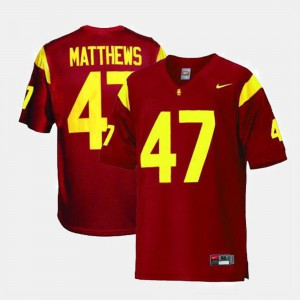 College Football #47 University For Men Red USC Trojans Clay Matthews Jersey 272641-200