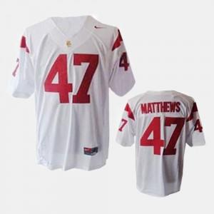 Men's College Football Trojans Clay Matthews Jersey #47 White College 253465-252