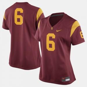 College Football Women's Trojans Jersey Cardinal #6 College 536791-122