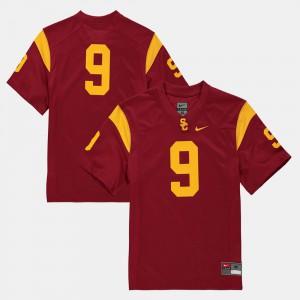 #9 College Football High School Trojans Jersey Youth(Kids) Cardinal 878686-548