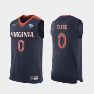 #0 University of Virginia Kihei Clark Jersey Navy NCAA For Men 2019 Men's Basketball Champions 568176-474