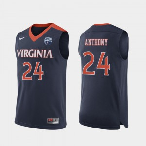 University #24 For Men's 2019 Men's Basketball Champions Navy Virginia Cavaliers Marco Anthony Jersey 611086-834