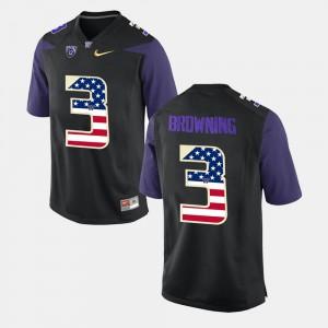 Washington Huskies Jake Browning Jersey Black Men US Flag Fashion #3 Player 529933-643